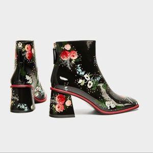 ZARA embellished heeled ankle boots NEW